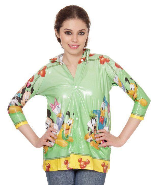 Monsuun Green Short Girls Raincoat