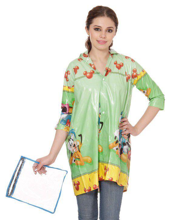 Monsuun Sea Green Short Girls Raincoat