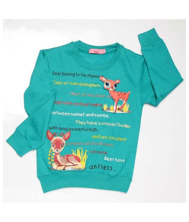 Little Aiva Green Full Sleeves Cotton Blend Sweatshirt For Kids