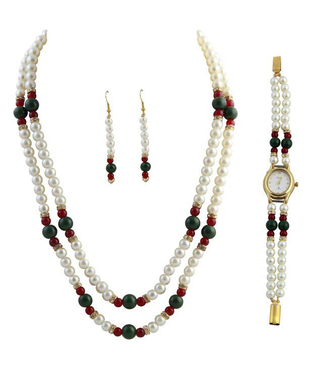 Raaga Pearl 2 Stringed Green & Maroon Necklace & Set with Watch Combo