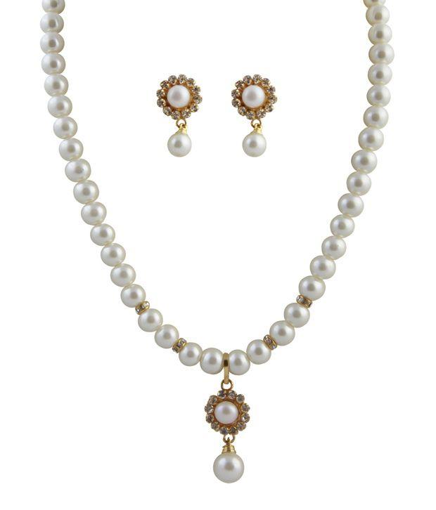 Raaga White  Flower Pendant Pearl Set
