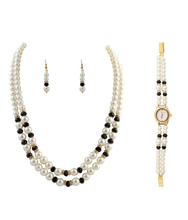 Raaga 2 Stringed Pearl White & Black Necklace & Set with Watch Combo