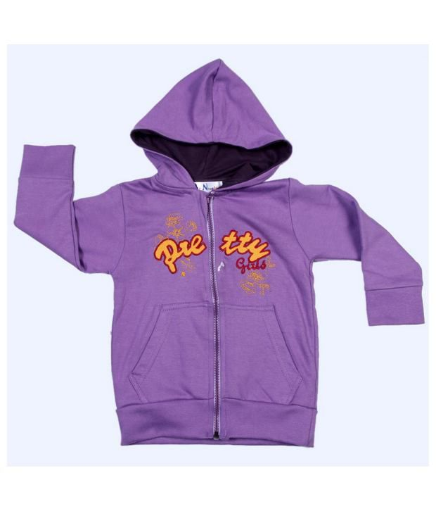 Be Naughty Purple Full Sleeves Cotton Sweatshirt For Kids