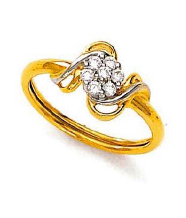 Avsar 18kt Gold 0.12 Ct. Diamond Floral Curve Ring