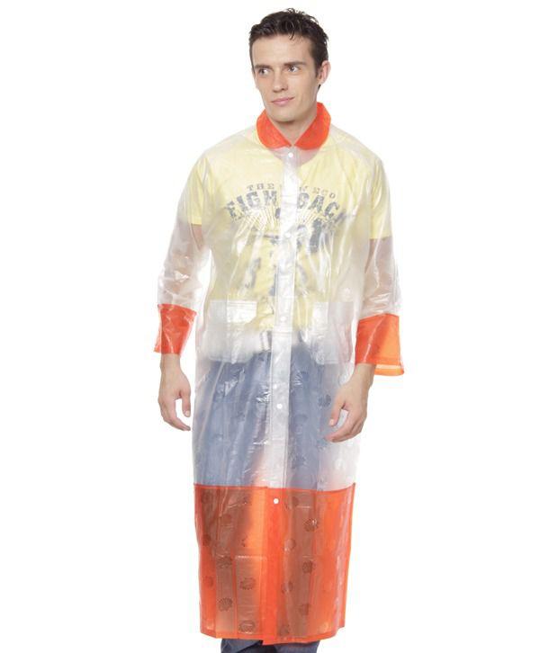 Jorss Transparent & Orange XXL Women Raincoat