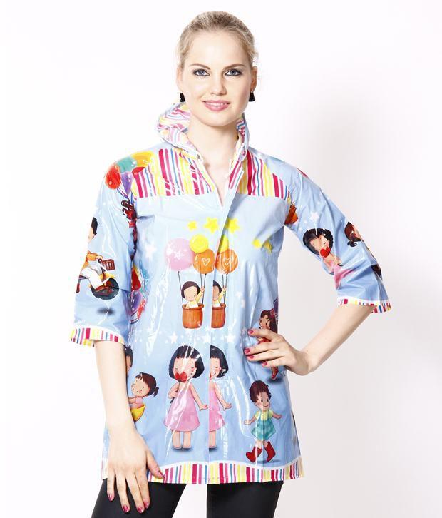 Jorss Sky Blue Printed XXXL Unisex Raincoat