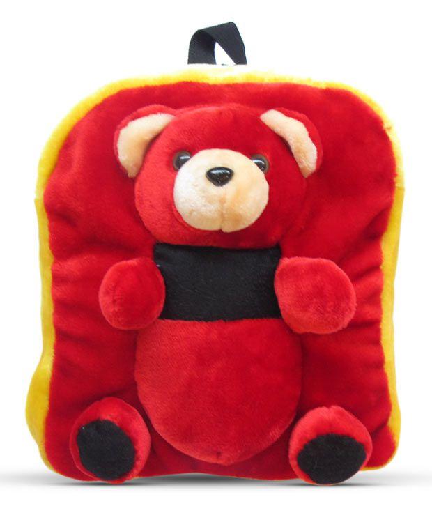 Tickle Red & Black Teddy School Bag - 33 Cm