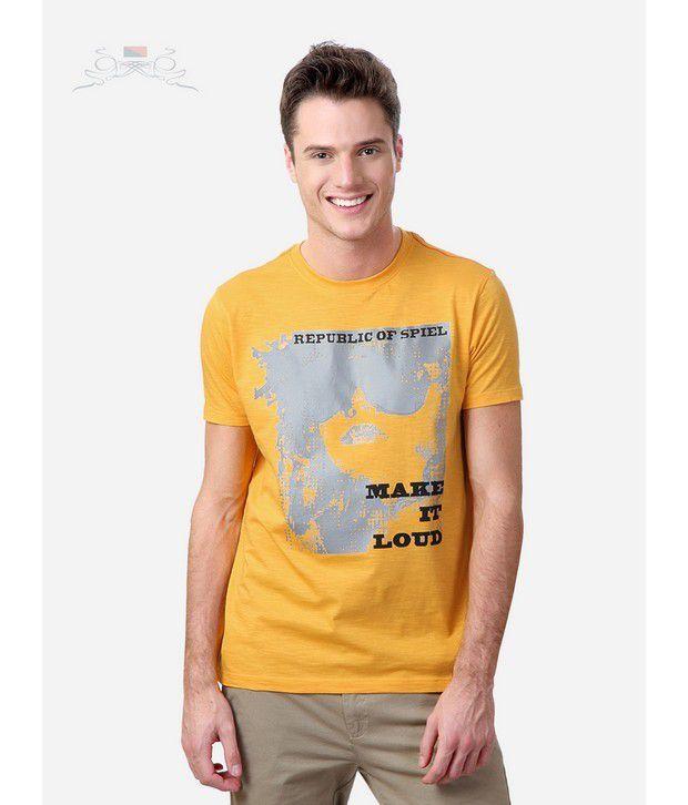 Spiel Yellow Crew Neck T-Shirts