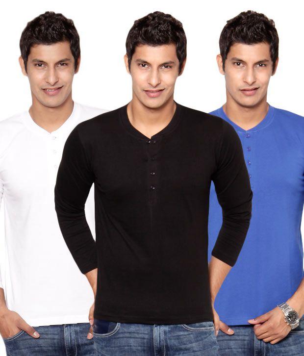Phoenix Black-White-Blue Pack Of 3 Henley T Shirts