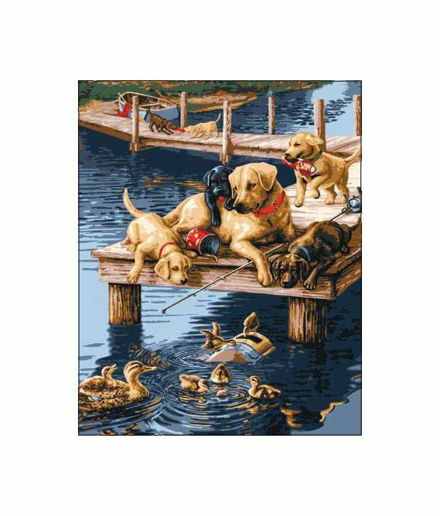 Bucilla 21685 Paint By Number Dock Dogs-Vxy: Buy Online at Best