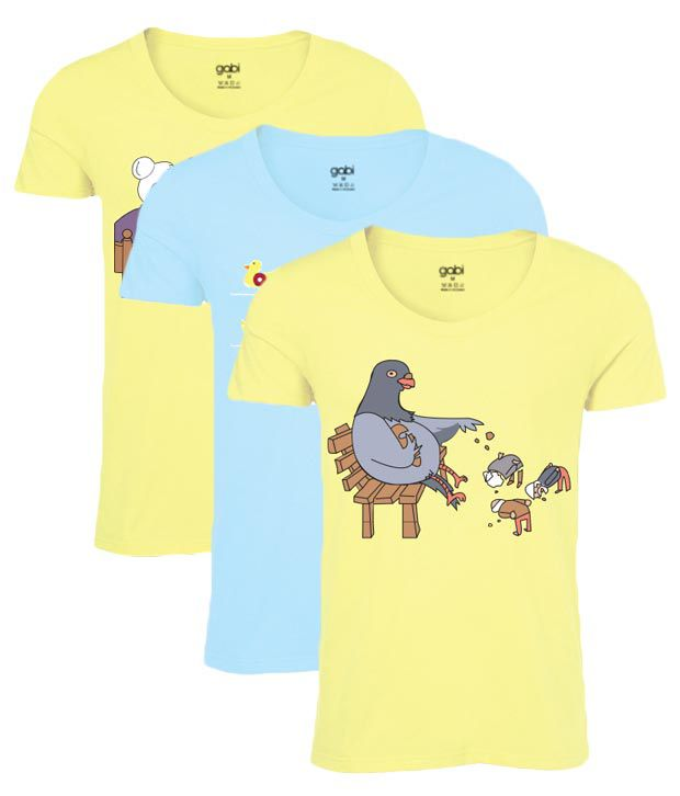 Gabi Life Yellow-Blue Pack of 3 T Shirt