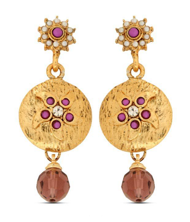Sia Floral Circular Golden Earrings