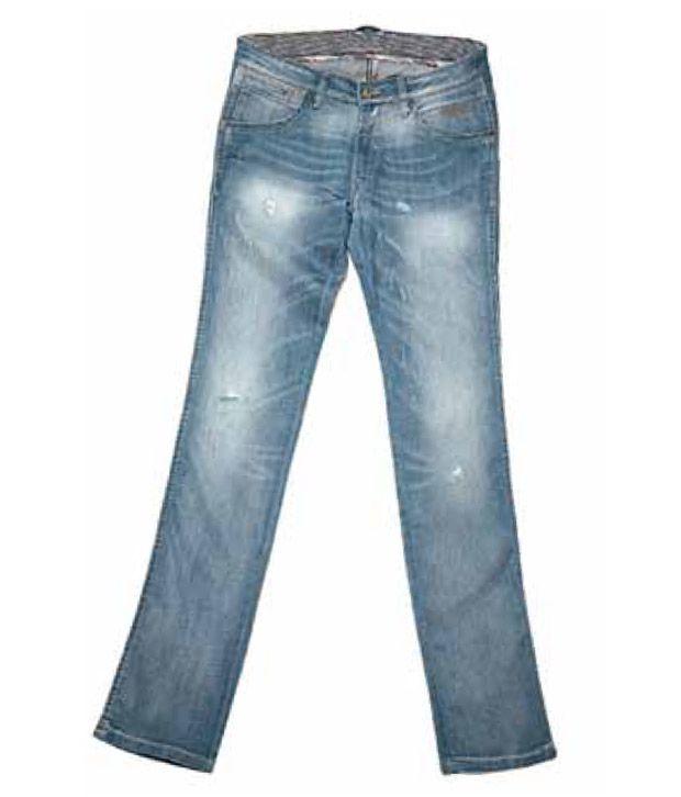Wrangler Distress Seaface Blue Jeans