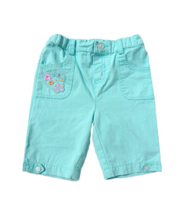 Beebay Turquoise Flower Embroidered Flap Capri For Kids