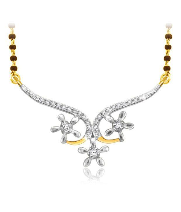 Sparkles 0.08ct. Diamond & 18kt Gold Floral Charm Mangalsutra