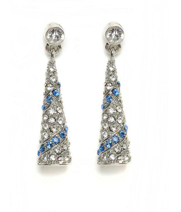 Sparkle Street Ethnic Designer Silver & Blue Earring