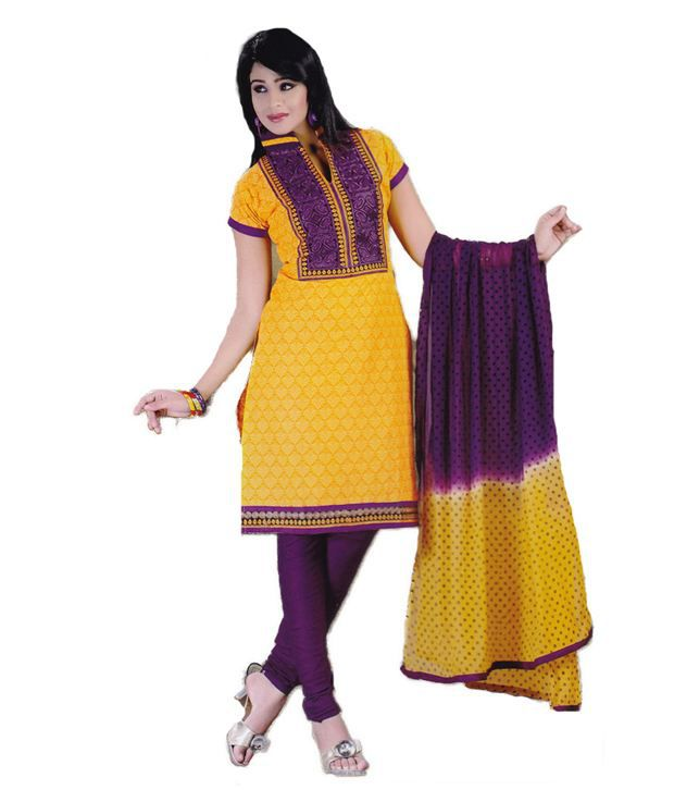 Salwar Studio Yellow Cotton Unstitched Dress Material