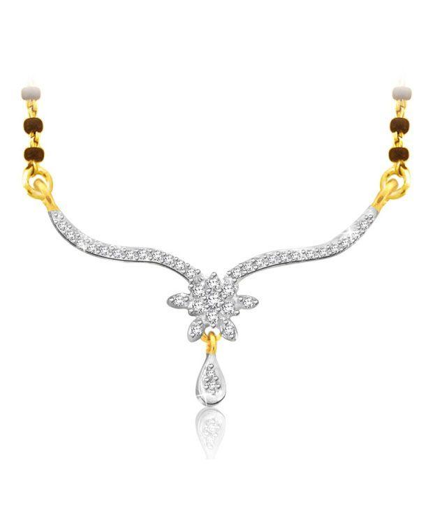 Sparkles 0.09ct. Diamond & 18kt Gold Floral Drop Mangalsutra