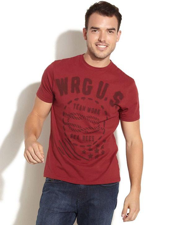 Wrangler Smart Maroon T Shirt