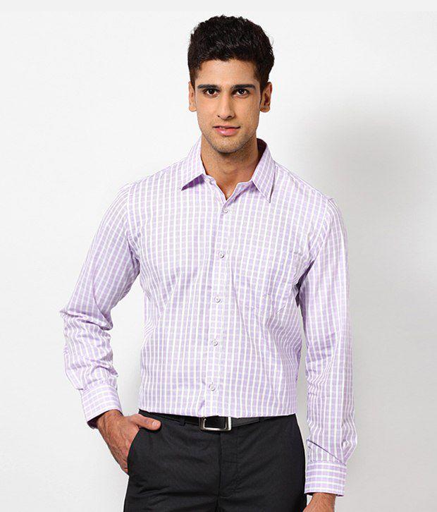 London Bridge Smart Purple Checkered Shirt
