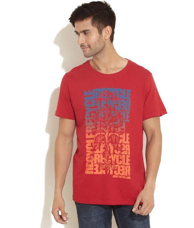 Urban Yoga Red Printed T Shirt