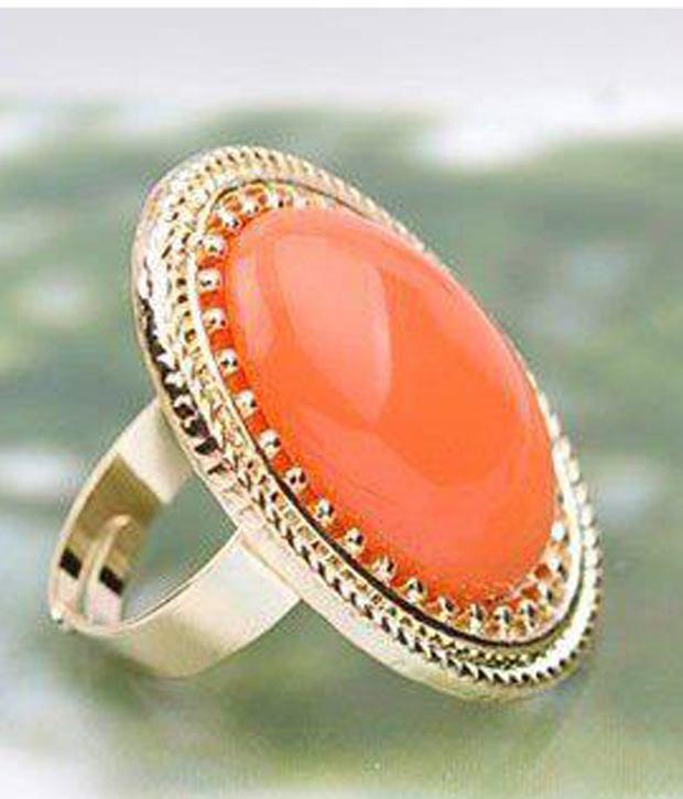 Crunchy Fashion Orange Stone Ring Buy Crunchy Fashion