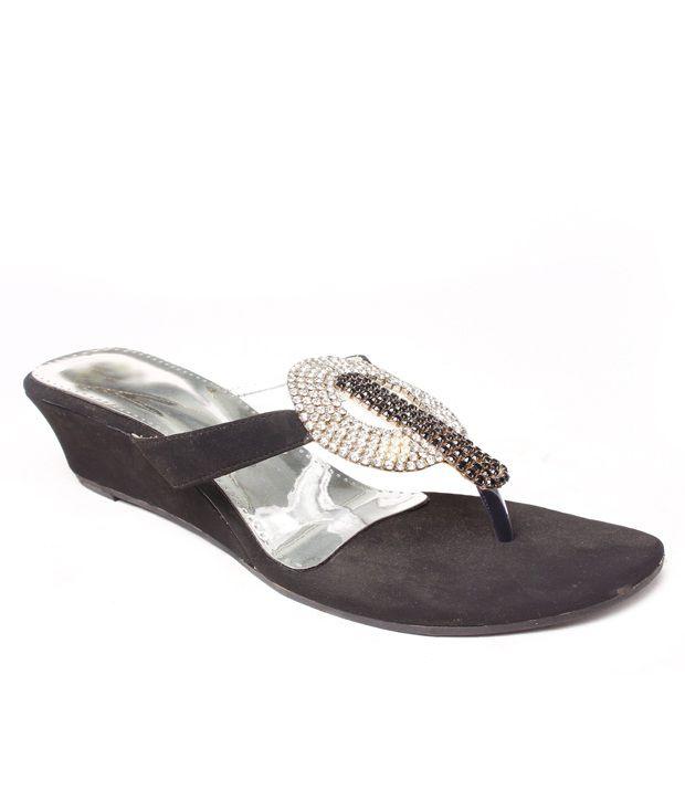 Do Bhai Fab Black Slip-on Heels