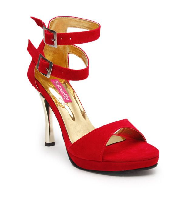 Butterfly Gorgeous Red Pencil Heel Sandals