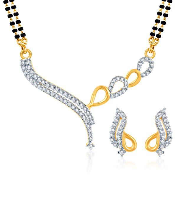 Sukkhi Appealing Gold & Rhodium Plated CZ Mangalsutra Set (Mangalsutra Mala may vary from the actual image)