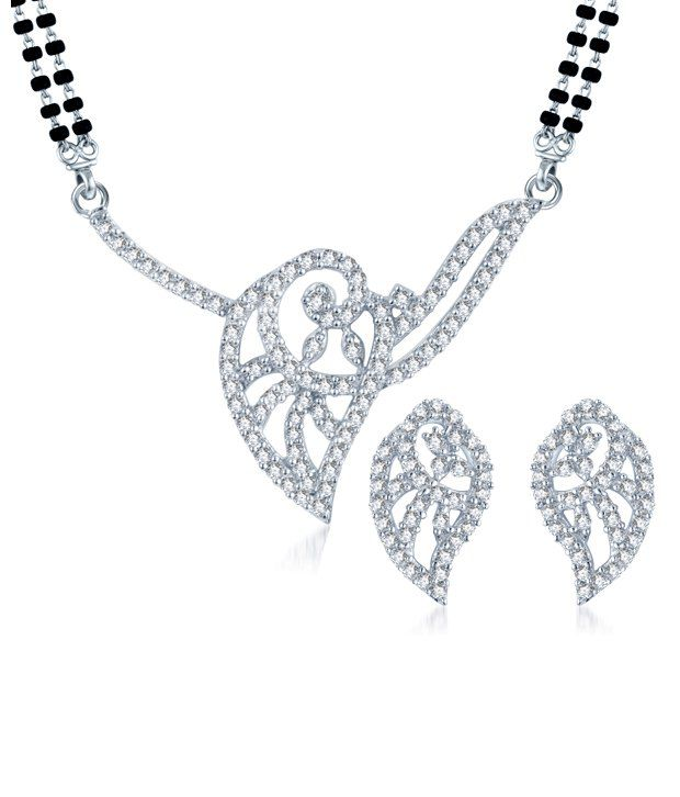 Sukkhi Leafy Charm Rhodium Plated CZ Mangalsutra Set (Mangalsutra Mala may vary from the actual image)