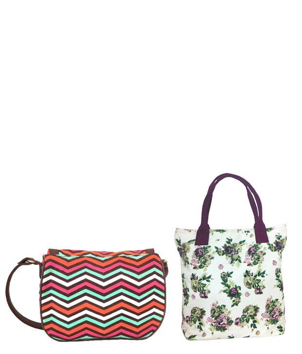 Carry On Bags White-Purple Tote Bag & Vibrant Cross Body Sling Bag Combo