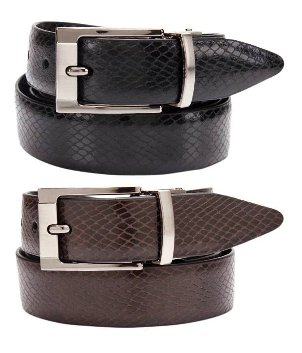 John Ledlie Black-Brown Formal Reversible Slim Belt