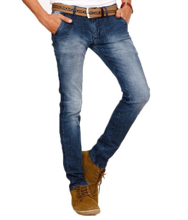 Design Roadies Dark Blue Faded Lycra Jeans