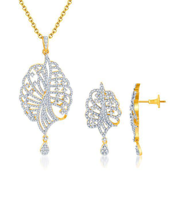 Sukkhi Glittery Gold & Rhodium Plated CZ Pendant Set (Chain...