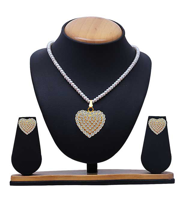 SV Jewels & Pearls Style Diva Silver Alloy CZ Necklace Set