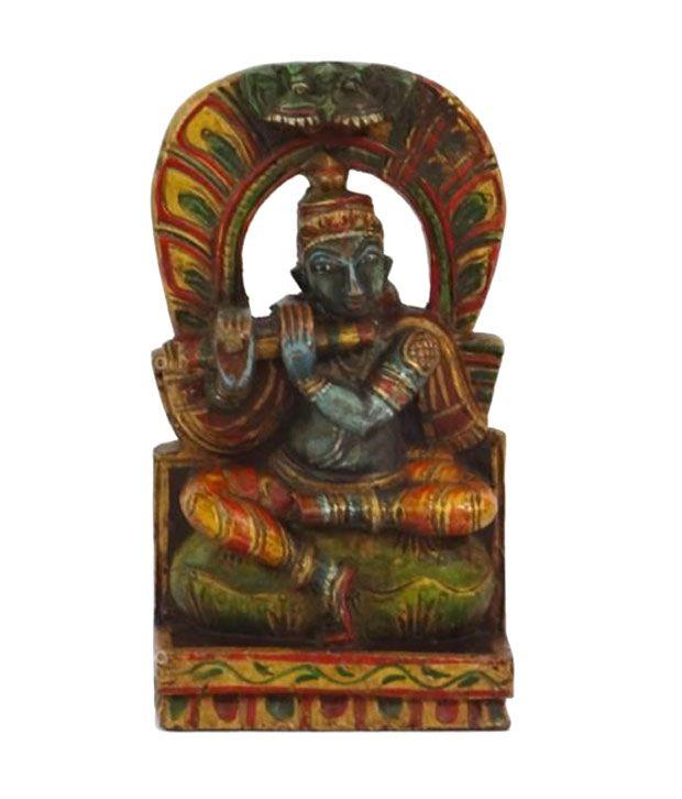 Artlivo POPART Wooden Krishna with Flute Religious Idols