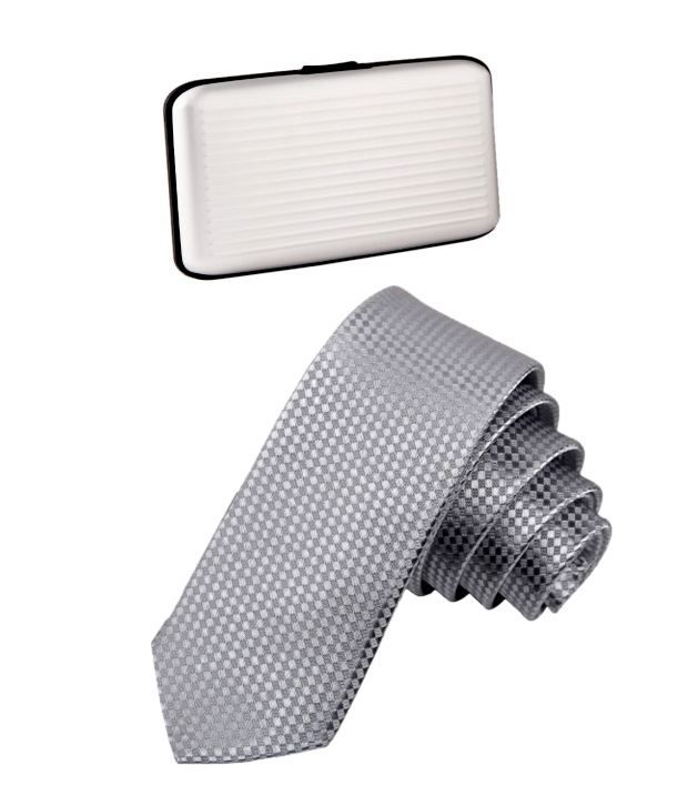 Civil Outfitters Smart Silver Tie with Key Chain Dairy With Free Card Holder