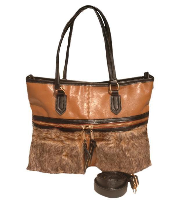 Lalana Brown Fur Satchel Bag
