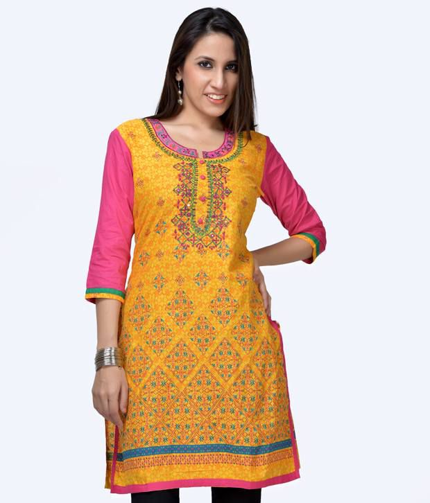 Shree Yellow Cotton Long Kurti