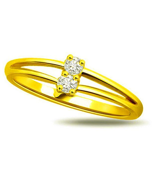 Surat Diamond 0.04 Cts. Diamond 18Kt Yellow Gold Contemporary Rings