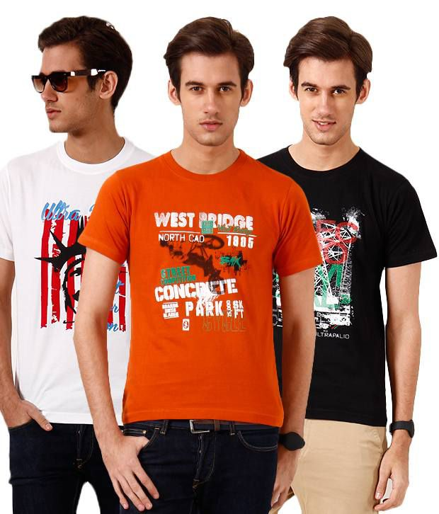 Ultra Palio Pack Of 3 White-Red-Black T Shirts