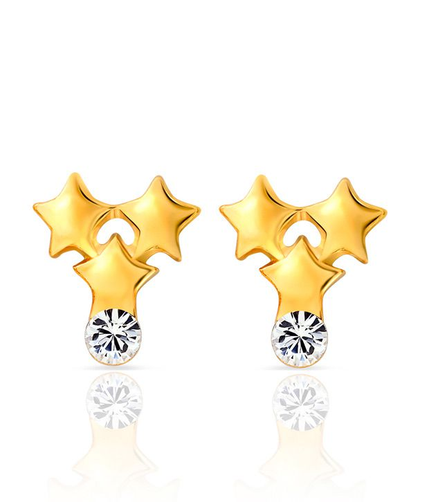 Mahi Daily wear Fashion three Star Stud Earrings of Brass Alloy with Crystal for Women ER1103688G
