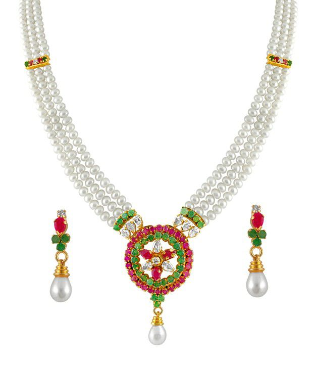 String Pearl Necklace: Sri Jagdamba Pearls 3 String Colourful Pearl Necklace Set