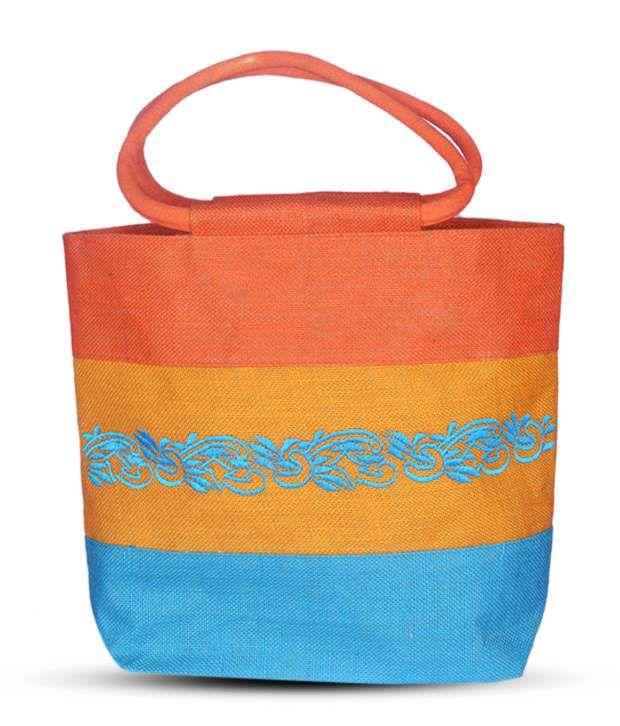 Jute Craft Orange & Blue Jute Shoulder Bag