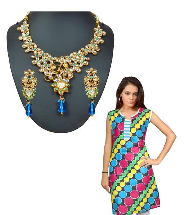 Kriaa Elegant Necklace Set & Kurta Combo