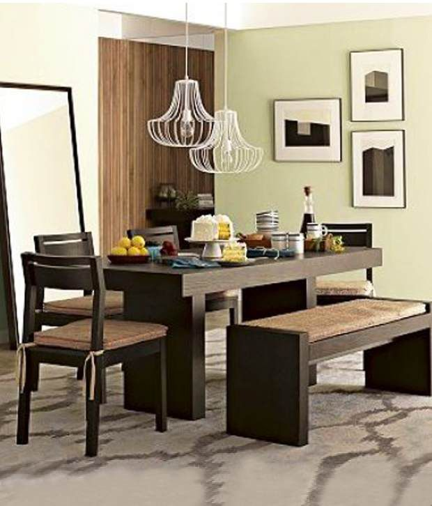 Induscraft Contemporary Dining Set Dining Table 4 Chairs Bench Buy
