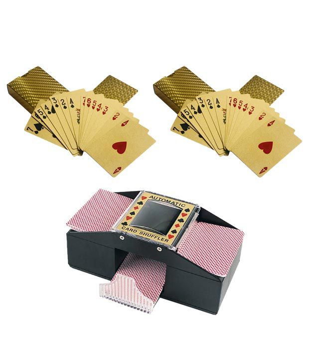 Casinoite Poker Gold Cards Pack of 2 with Card Shuffler