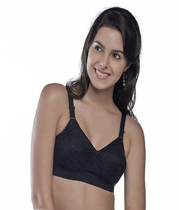019963c700b Trylo Krutikachiken Black Cotton Non-Wired Bra Pack Of 2 Price in India