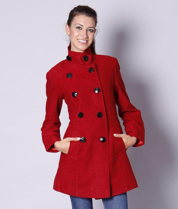 Exult Red Polyester Blend Long Coat