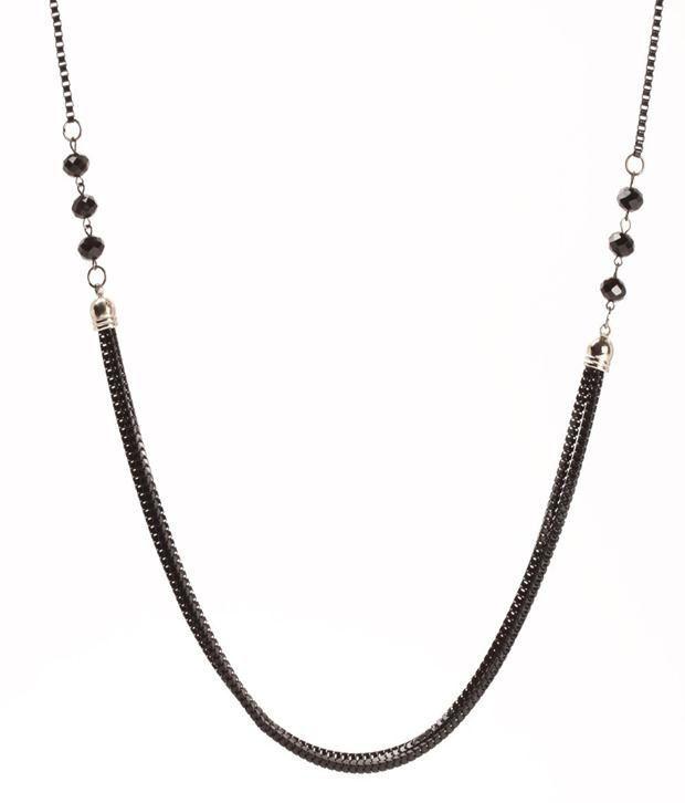 Khoobsurati Magnetic Black Coloured Long Neck String Necklace